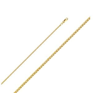 TGDJ 14K Real Yellow Gold 1.5 mm Flat Open Wheat Chain Necklace